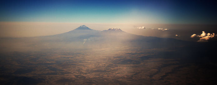 Mexico city volcanos from the plane